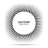 Convex distorted black abstract vector circle frame halftone dots logo emblem design for new technologybackground. Stock Photography