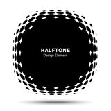 Convex distorted black abstract vector circle frame halftone dots logo emblem for new technology pattern background. Stock Image