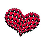 Convex huge heart made up of little hearts Royalty Free Stock Images