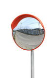 Convex mirror. Isolated on white background stock images