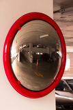 Convex mirror. In parking building Stock Photography