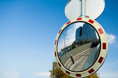 Convex mirror at a street Royalty Free Stock Photos