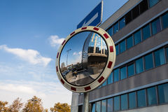 Convex mirror at a street Stock Photography