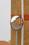 Convex Mirrors at Intersection Royalty Free Stock Photography