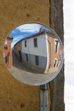 Convex Mirrors at Intersection. Convex Mirror in cross street to encourage visibility stock image