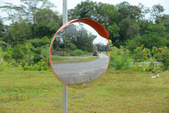 Convex Road Safety Mirror Stock Image