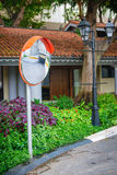 Convex Traffic Mirror Mounted on a Residential Street Stock Photos