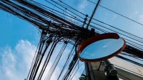 Convexe Spiegel met de Oranje Elektrische Draden van GLB en van de Verwarring van Laag royalty-vrije stock foto's