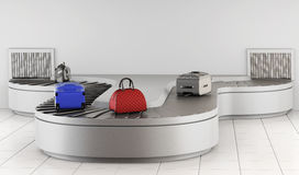 Conveyer belt at the airport. Baggage claim. 3d rendering Royalty Free Stock Image