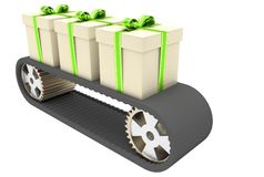 Conveyer belt and gifts Stock Photos