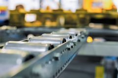 Conveyer roller sorting system. In distribution warehouse royalty free stock photo