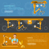 Conveyor banners automation of labor conveyor belt royalty free illustration