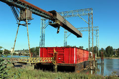 Conveyor and Barge Stock Photography