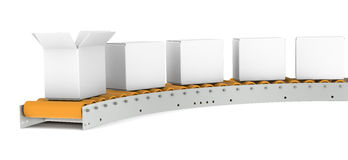 Conveyor Belt. One open Box Stock Photography