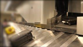 Conveyor belt for baggage collection after flight. Establish shot clip stock video footage