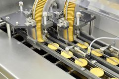 Conveyor belt with biscuits in a food factory - machinery equipm Stock Image