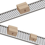 Conveyor Belt Boxes. An image of 3d boxes on a conveyor belt Stock Image
