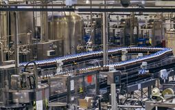 Conveyor belt of brewery production line . Beer polyethylene PET bottles are moving on conveyor Stock Images