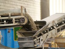 Conveyor belt on a cement mixe Stock Images