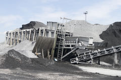 Conveyor belt in a Coal depot. Start point of a conveyor belt in a coal deposit of European Bulk Services Rotterdam Stock Photos