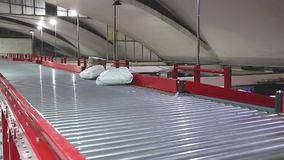 Conveyor distribution depot. Conveyor belt in distribution warehouse shipping delivery stock video footage