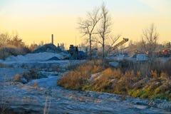 Conveyor belt in granite quarry Royalty Free Stock Images