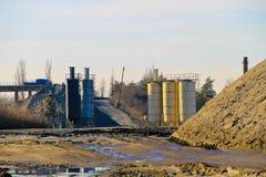 Conveyor belt in granite quarry Stock Photo