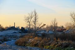 Conveyor belt in the granite quarry Stock Photography