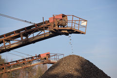 Conveyor belt. In the gravel  pit Royalty Free Stock Photos