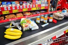 Conveyor belt at the market, checkout Royalty Free Stock Photos