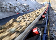 Free Conveyor Belt Moves Ore From The Quarry For Processing Stock Photos - 163077263