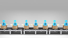 Conveyor belt with new employees Stock Images