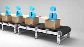 Conveyor belt with new employees Royalty Free Stock Image