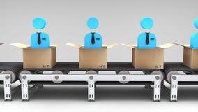 Conveyor belt with new employees Stock Photos
