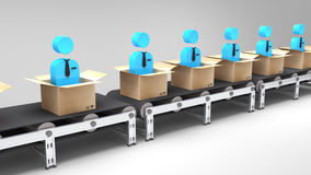 Conveyor belt with new employees Royalty Free Stock Image