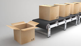 Conveyor belt with opend carton Royalty Free Stock Photography