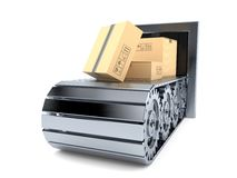 Conveyor belt with packages Stock Photo