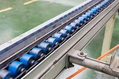 Conveyor belt, production line of the factory. Royalty Free Stock Photography