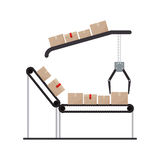 Conveyor belt with sealed packages and crane mechanics. Vector illustration royalty free illustration
