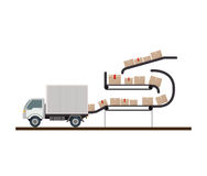 Conveyor belt stored sealed boxes Stock Images