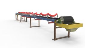 Conveyor belt for the transport of materials Stock Photo