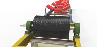 Conveyor belt for the transport of materials Stock Images