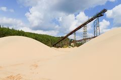 Conveyor belts and sand heaps. Construction industry. Sand quarry. Horizontal  photo Royalty Free Stock Images