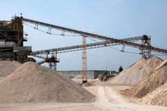 Conveyor belts in a sand quarry Royalty Free Stock Image