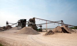 Conveyor belts in a sand quarry Stock Photos
