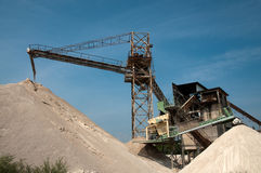 Conveyor belts in a sand quarry Stock Image
