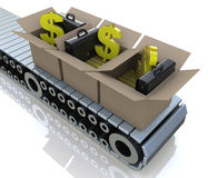 Conveyor cardboard boxes with gold bars and dollar signs Royalty Free Stock Photography