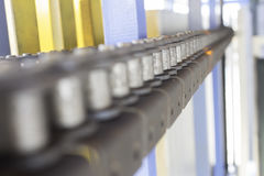 Conveyor chain line belt. Automatic stock images