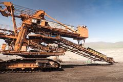 The conveyor in coal opencast Stock Images