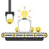 Conveyor concept of Sad to Happy emoticons. Concept of Sad to Happy emoticons. Conveyor system in flat design and emoji smiley. Vector illustration isolated on Stock Photos